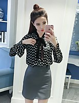 Women's Going out Casual/Daily Street chic Sophisticated Blouse,Polka Dot V Neck Long Sleeve Silk Rayon