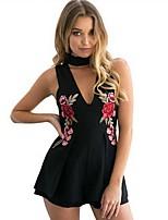 Для женщин На выход На каждый день Из двух частей Платье Однотонный Вышивка,Глубокий V-образный вырез Мини Без рукавов ПолиэстерВесна