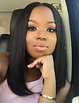 8-26 Inch 100% Human Virgin Hair Natural Black Color Lace Front BoB Lace Wig Glueless Straight Lce Front Wigs with Baby Hair