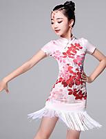 Danse latine Robes Enfant Spectacle Viscose 2 Pièces Manche courte Robe Short