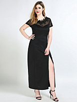 Women's Plus Size Casual/Daily Party Sexy Vintage Street chic Shift Sheath Lace Dress,Solid Round Neck Maxi Short SleeveCotton Polyester