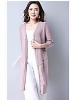 Women's Going out Casual/Daily Long Cardigan,Solid V Neck Long Sleeve Acrylic Spring Summer Medium Micro-elastic