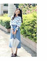 Feminino Camisa Social Casual Para Noite SimplesListrado Algodão Colarinho Chinês Manga Longa