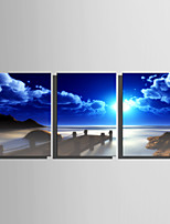 E-HOME Stretched Canvas Art Pier Under The Blue Sky Decoration Painting Set Of 3