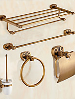 Antique Brass Horn Style 5pc Bathroom Accessory Set