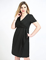 Really Love Women's Plus Size Casual/Daily Party Sexy Vintage Simple Shift Sheath Tunic Dress,Solid V Neck Knee-length Short Sleeve Polyester Spandex