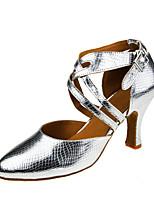 Sapatos de Dança(Prata) -Feminino-Personalizável-Moderna