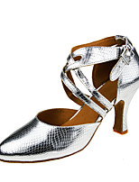 Customizable Women's Dance Shoes Modern Latin Ballroom Salsa Tango Dance Shoe Customized Heel Professional  Silver