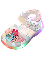Girls' Sandals Comfort Light Up Shoes PU Spring Summer Casual Comfort Light Up Shoes Flower Hook & Loop LED Flat Heel White Blushing Pink
