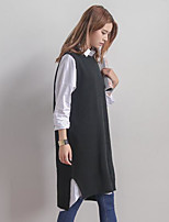 Mujer Largo Chaleco Casual/Diario Simple,Un Color Escote Redondo Sin Mangas Algodón Primavera Otoño Medio Microelástico
