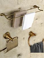Neoclassical Bathroom Accessory Set 3PCS Antique Brass Towel Bar Towel Ring Paper Holder