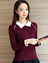 Women's Going out Casual/Daily Regular Pullover,Color Block Shirt Collar Long Sleeve Others Fall Winter Medium Micro-elastic