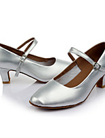 Customizable Women's Dance Shoes Leatherette Latin Heels Customized Heel Indoor Silver