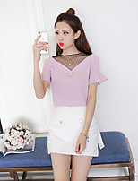 Women's Casual/Daily Sexy Cute Blouse,Solid Round Neck Short Sleeve Cotton