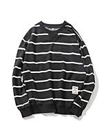 Men's Casual/Daily Activewear Set Striped V Neck Micro-elastic Acrylic ¾ Sleeve Spring