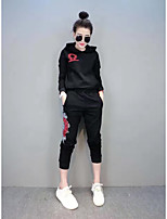 Women's Casual/Daily Sports Street chic Active Hoodie Pant Suits,Solid Hooded Long Sleeve