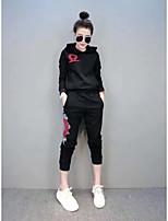 Damen einfarbig Street Schick Aktiv Lässig/Alltäglich Sport Kapuzenshirt Hose Anzüge Lange Ärmel