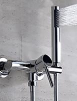 Современный На стену Широкий Spary with  Керамический клапан Одной ручкой Два отверстия for  Хром , Смеситель для ванны