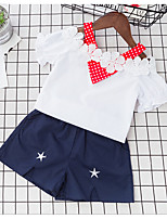 Girls' Casual/Daily Solid Sets,Cotton Rayon Summer Short Sleeve Clothing Set