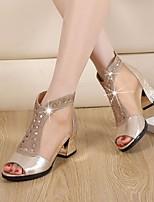 Mujer-Tacón Robusto-Zapatos del club-Sandalias-Informal-PU-Dorado Negro