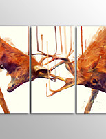Canvas Print Animal Modern Red DeerThree Panels Canvas Horizontal Print Wall Decor For Home Decoration