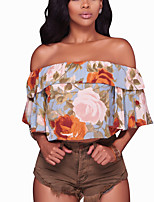 Women's Going out Club Holiday Sexy Vintage Boho Layered Backless Bare Midriff Spring Summer T-shirtFloral Boat Neck Short Sleeve Medium