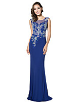 Formal Evening Dress Trumpet / Mermaid Jewel Sweep / Brush Train Jersey with Beading Embroidery