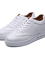 Unisex Sneakers Spring Fall Couple Shoes PU Casual Lace-up White
