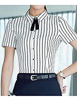Women's Casual/Daily Simple T-shirt,Striped Shirt Collar Short Sleeve Cotton Thin