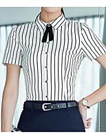 Damen Gestreift Einfach Lässig/Alltäglich T-shirt,Hemdkragen Kurzarm Baumwolle Dünn