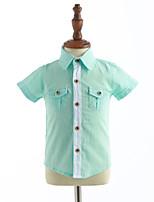 Рубашка На каждый день Хлопок Однотонный Лето С короткими рукавами
