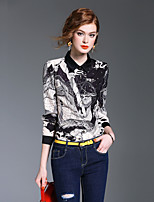 XSSLWomen's Going out Casual/Daily Simple Cute Street chic Spring Fall ShirtPrint Stand Long Sleeve Polyester Medium