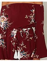 Для женщин На выход Шифон Платье Однотонный Цветочный принт,С открытыми плечами Мини Длинный рукав Хлопок Лето Со стандартной талией