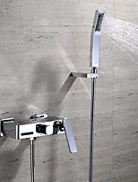Современный На стену Водопад with  Керамический клапан Две ручки три отверстия for  Хром , Смеситель для ванны