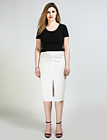 Really Love Women's High Rise Midi Skirts,Sexy Simple Cute Pencil Split Solid