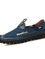 Коричневый Военно-зеленный Синий-Для мужчин-Для прогулок-Кожа-На плоской подошве-Мокасины-Туфли на шнуровке