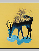 Hand-Painted Modern Abstract Grassland Deer Animal Oil Painting On Canvas Wall Art Picture For Home Decoration Ready To Hang