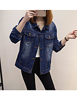 Women's Casual/Daily Work Simple Fall Denim Jacket,Solid Shirt Collar Long Sleeve Regular Cotton