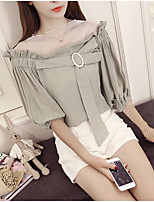 Women's Casual/Daily Simple Spring Summer Blouse,Solid Boat Neck ½ Length Sleeve Others Opaque