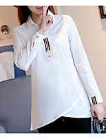 Women's Casual/Daily Simple Shirt,Solid Shirt Collar Long Sleeve Acrylic