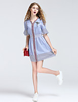 8CFAMILY Women's Going out Casual/Daily Sexy Simple Street chic A Line Shirt Dress,Striped V Neck Mini Short Sleeve Cotton Summer Mid Rise