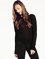 Women's Going out Casual/Daily Street chic Spring Summer Shirt,Print Round Neck Long Sleeve Cotton Medium