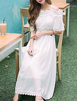Einteilig/Kleid Klassische/Traditionelle Lolita Vintage Inspirationen Elegant Prinzessin Cosplay Lolita Kleider Weißeinfarbig Spitze