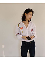 Women's Casual/Daily Simple Shirt,Striped Shirt Collar Long Sleeve Others
