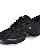 Non Customizable Women's Dance Shoes Leather Synthetic Dance Sneakers Sneakers Low Heel Performance Black/Gold Pink/Black Fuchsia White