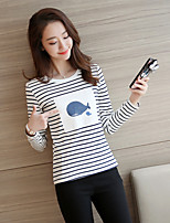 Women's Casual/Daily Simple T-shirt,Striped Print Round Neck Long Sleeve Cotton