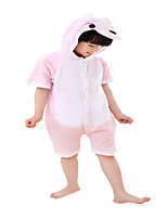 Kigurumi Pajamas Dinosaur Festival/Holiday Animal Sleepwear Halloween Pink Solid Cotton Cosplay Costumes For Unisex Female Male Kid