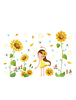 Wall Stickers Wall Decals Style Sunflower Girl PVC Wall Stickers