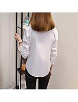 Feminino Camisa Social Formal SimplesSólido Algodão Colarinho de Camisa Manga Longa