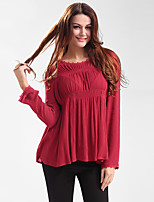 Women's Going out Casual/Daily Work Vintage Simple Shirt,Solid Round Neck Long Sleeve Polyester